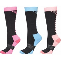 TUFFRIDER LADIES WINTER NEON 3-PACK SOCKS, ONE SIZE