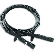 VESPUCCI LEATHER REINS with STOPS, BLACK 54 INCH
