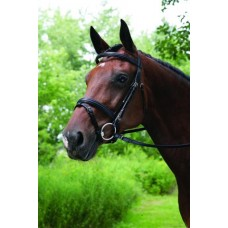VESPUCCI SINGLE CROWN DOUBLE RAISED SNAFFLE BRIDLE withFLASH