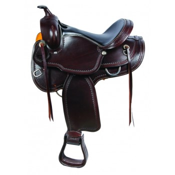 SIERRA INDY ROUND SKIRT TRAIL SADDLE, DARK BROWN
