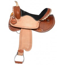 SIERRA ACE CUT-AWAY BARREL RACER SADDLE, MEDIUM TAN