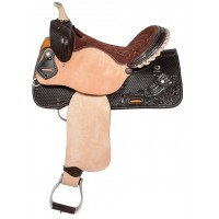 SIERRA CRUZ CUT-AWAY BARREL RACER SADDLE, DARK CHOCOLATEWITH NATURAL ROUGH OUT