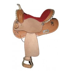 SIERRA ALTA ROUND SKIRT BARREL SADDLE, LIGHT OIL with REDSUEDE SEAT