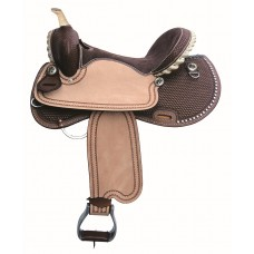 SIERRA SHILOH BARREL RACE SADDLE with SPOTS, DARK BROWN