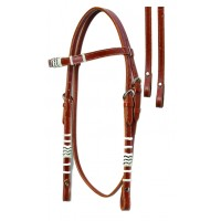 SIERRA RAWHIDE TRIM BROW HEADSTALL WITH REINS, MEDIUM OIL