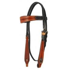 SIERRA BROWN & BLACK HORSESHOE BROWBAND HEADSTALL,CHESTNUT/BLACK