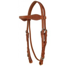 SIERRA DOUBLE & STITCHED WAVE BROWBAND HEADSTALL, HARNESSLEATHER
