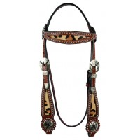 SIERRA LEOPARD WIDE BROWBAND HEADSTALL, SOFT CHESTNUT