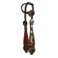 SIERRA LEOPARD ONE EAR HEADSTALL, SOFT CHESTNUT