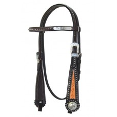SIERRA COOKIES AND CREAM BROW HEADSTALL, DARK BROWN WITHLIGHT OIL