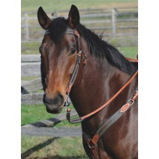 SIERRA CASINO EAR HEADSTALL, DARK BROWN HAIR, SOFT CHESTNUT