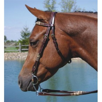 SIERRA BASKETWEAVE/RAWHIDE BROW HEADSTALL, CHERRY