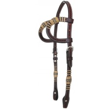 SIERRA BASKETWEAVE/RAWHIDE DOUBLE EAR HEADSTALL, CHERRY