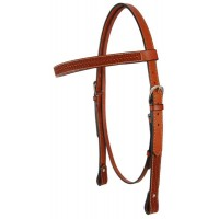 SIERRA BASKETWEAVE DRAFT HEADSTALL, SOFT CHESTNUT