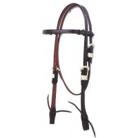 SIERRA BROWBAND HEADSTALL with RAWHIDE WRAPPED BUCKLES, DARKOIL