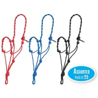 MUSTANG TWISTED ROPE HALTER, PACKAGE OF 25 ASSORTED COLOURS