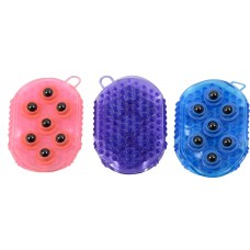 GEL GROOMER/MASSAGER MITT WITH MAGNETIC ROLLERS
