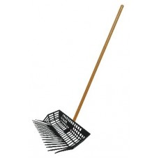 CAVALIER PLASTIC BASKET MANURE FORK with WOODEN HANDLE AND BLACK HEAD