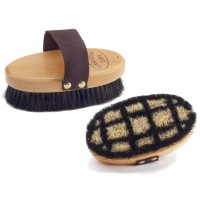 """EQUINE ESSENTIALS WOODBACK HORSESHOE BODY BRUSH WITH SOFT HORSE HAIR BRISTLES, SMALL - 6"""" LONG"""