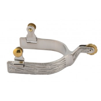 MENS STAINLESS STEEL ROPING SPUR with BARBED WIRE