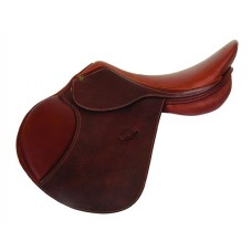 HDR SHOW JUMPING SADDLE GRAINED SOFT FLAP, OAKBARK, REGULAR OR WIDE