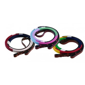 HDR MULTI COLOUR WEB TRAINING REINS, 48 INCH PONY SIZE