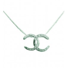 UNIQUELY EQUINE STERLING SILVER NECKLACE & PENDANT - CROSSED HORSESHOES