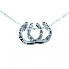 UNIQUELY EQUINE STERLING SILVER NECKLACE & PENDANT - SIDE-BY-SIDE HORSESHOES