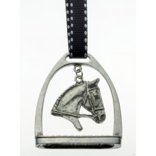 UNIQUELY EQUINE STIRRUP WITH HORSE HEAD PEWTER ORNAMENT