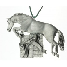 UNIQUELY EQUINE HORSE JUMPING THE GIFT PEWTER ORNAMENT