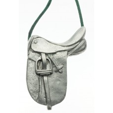 UNIQUELY EQUINE DRESSAGE SADDLE PEWTER ORNAMENT