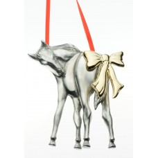 UNIQUELY EQUINE FOAL WITH GOLD BOW PEWTER ORNAMENT
