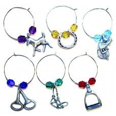 UNIQUELY EQUINE EQUESTRIAN COLOURED GLASS WINE CHARMS, BOX/6