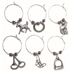 UNIQUELY EQUINE EQUESTRIAN SILVER WINE CHARMS, BOX/6