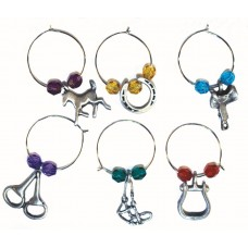UNIQUELY EQUINE WESTERN COLOURED GLASS WINE CHARMS, BOX/6