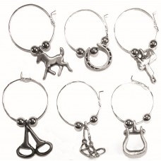 UNIQUELY EQUINE WESTERN SILVER WINE CHARMS, BOX/6
