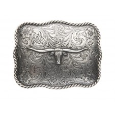 ANTIQUED SILVER SCALLOPED LONGHORN BUCKLE
