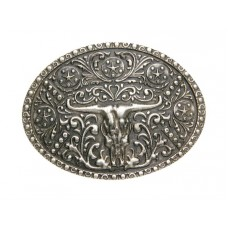 ANTIQUED SILVER STEER SKULL BUCKLE