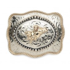 BULL RIDER with INSIDE BEADED BORDER BUCKLE