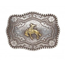 BRONC BUSTER ANTIQUED SILVER and GOLD PLATED BUCKLE