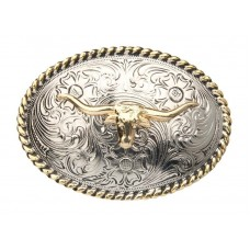 CHILDS NICKEL OVAL with GOLD LONGHORN BUCKLE