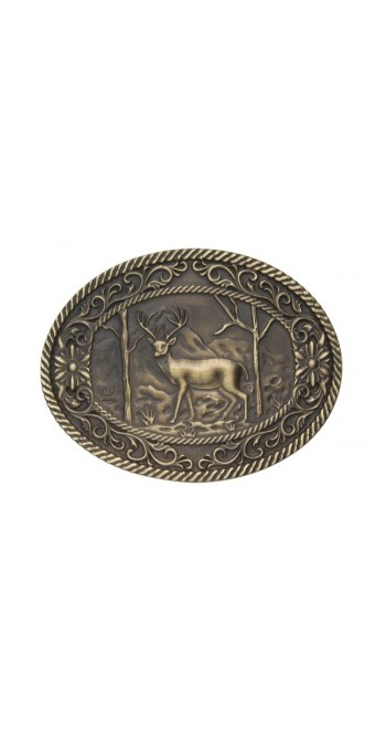 ANDWEST ANTIQUE BRASS WHITE TAIL DEER BUCKLE