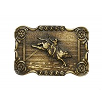 ANDWEST ANTIQUE BRASS SCALLOPED BULL RIDER BUCKLE