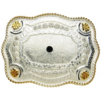 ANDWEST TWO-TONE POLISH SCALLOPED MOTIF BUCKLE