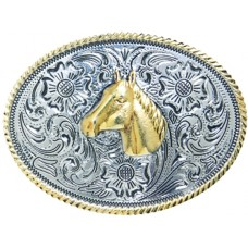 ANDWEST KIDS OVAL HORSE HEAD BUCKLE WITH ROPE BORDER