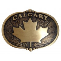"ANDWEST ANTIQUE BRASS ""CALGARY"" WITH MAPLE LEAF BUCKLE AND BERRY EDGE DETAIL"