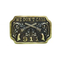 """ANDWEST ANTIQUE BRASS """"WE DON'T CALL 911"""" BUCKLE WITH CROSSED PISTOLS"""