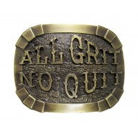 """ANDWEST ANTIQUE BRASS """"ALL GRIT, NO QUIT"""" BUCKLE"""
