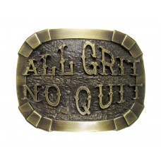 "ANDWEST ANTIQUE BRASS ""ALL GRIT, NO QUIT"" BUCKLE"