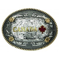 ANDWEST 2-TONE ANTIQUE OVAL CANADA REGIONAL BUCKLE WITH OVAL ROPE EDGE